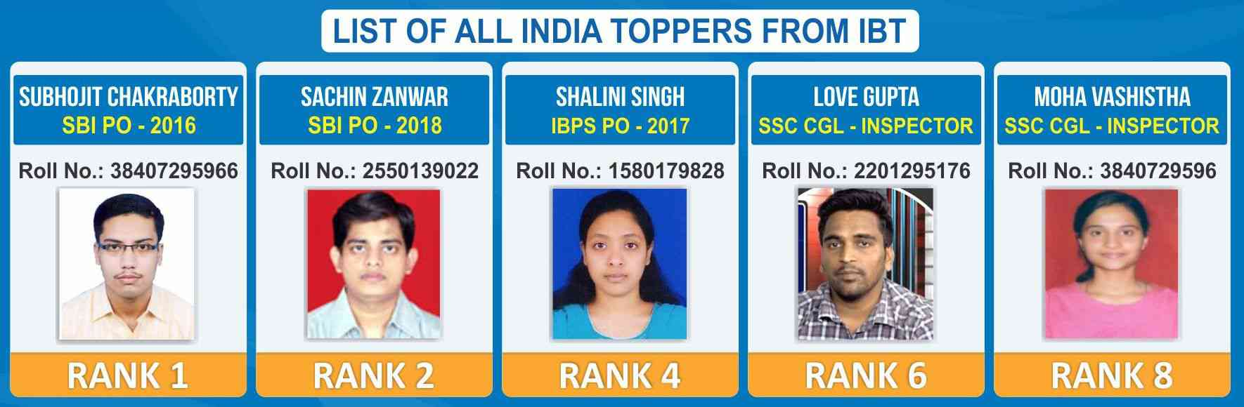 All  india toppers of  IBT