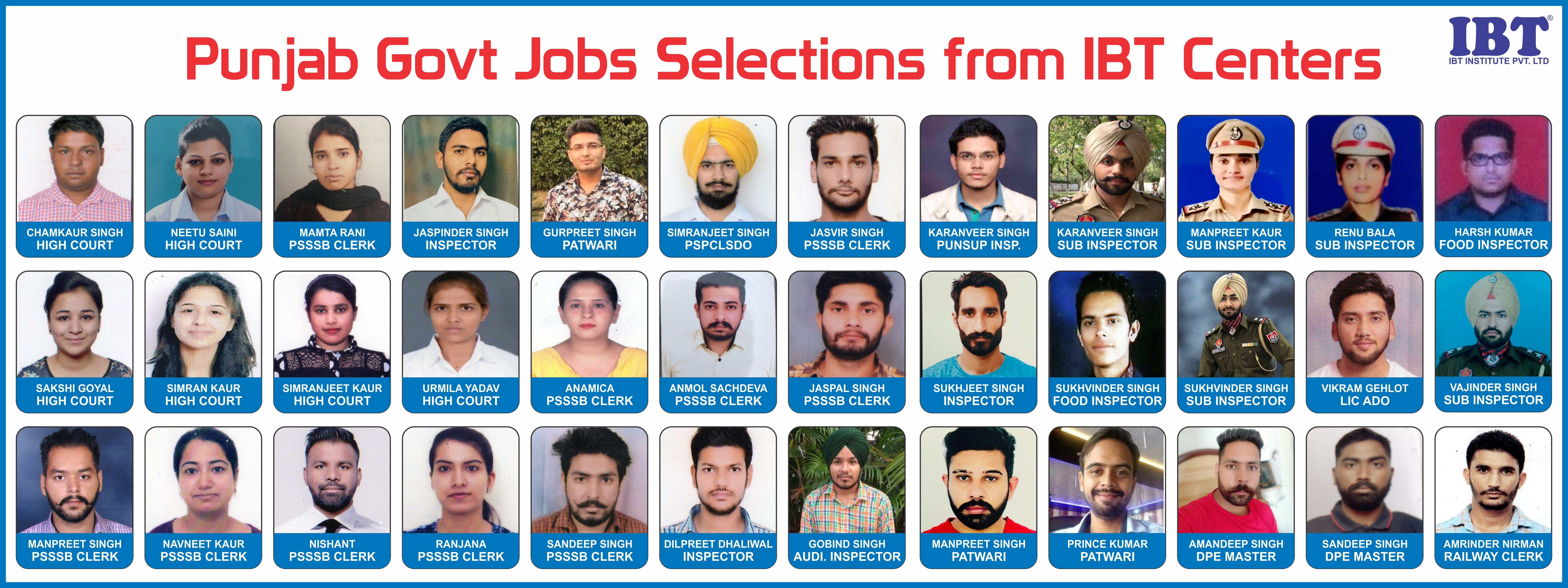Punjab Government Job Selections